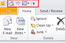 quick acces toolbar Outlook 2010
